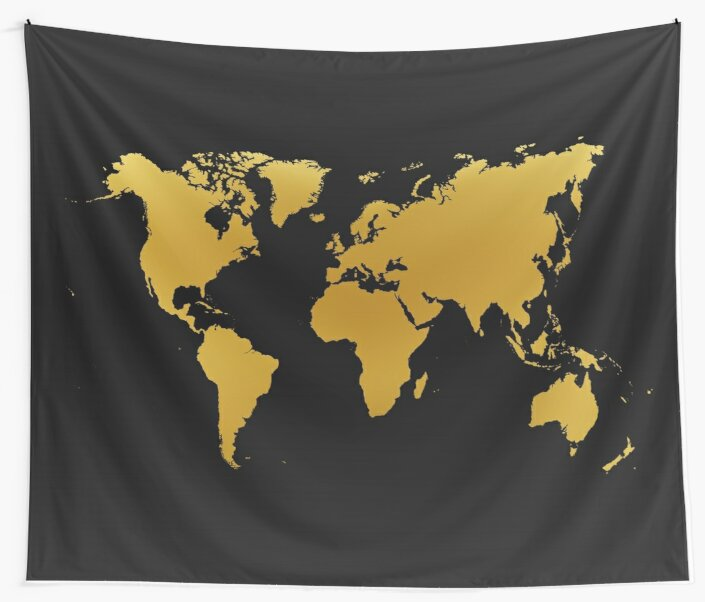 Gold and black world map wall tapestries by link2sue redbubble gold and black world map by link2sue gumiabroncs Image collections