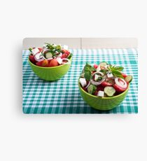 Useful vegetarian food from raw tomatoes, cucumbers and onions Canvas Print