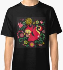 RED Squirrel with Nut. Russian Background. BLACK.  Classic T-Shirt