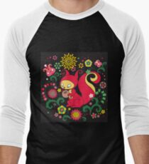 RED Squirrel with Nut. Russian Background. BLACK.  T-Shirt