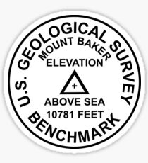 Mount Baker, Washington USGS Style Benchmark Sticker