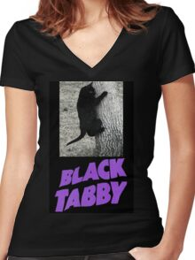Black Tabby  Women's Fitted V-Neck T-Shirt