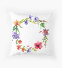 Cute Watercolor Spring Floral Wreath Throw Pillow