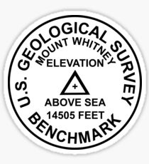 Mount Whitney, California USGS Style Benchmark Sticker
