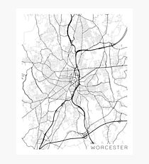 Worcester Map, USA - Black and White Photographic Print