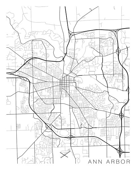 Ann Arbor Map, USA - Black and White\