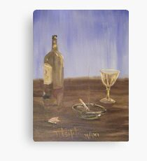 Breakfast with a glass of wine and a cigarette Canvas Print