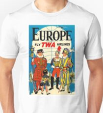 """""""TWA AIRLINES"""" Fly to Europe Advertising Print Unisex T-Shirt"""
