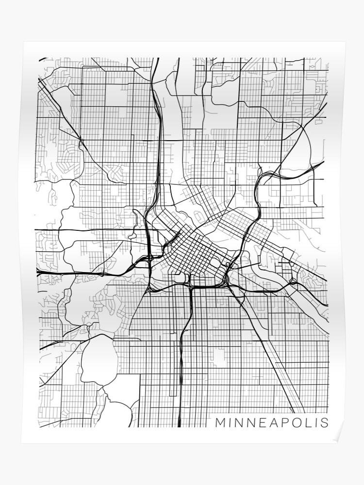 Minneapolis Map, USA - Gray | Poster