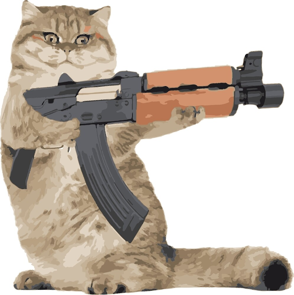 AK47 Kalashnikat Funny Cat Gun by ironwomennt