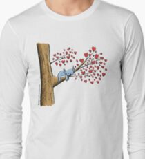 Cute Sleeping Koala on Tree with Hearts Long Sleeve T-Shirt