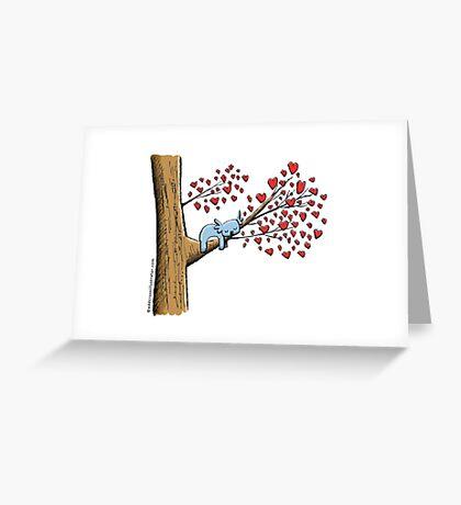 Cute Sleeping Koala on Tree with Hearts Greeting Card