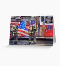 FDNY Firefighter fireman fire truck Illustration Painting art design fire house watercolor Greeting Card