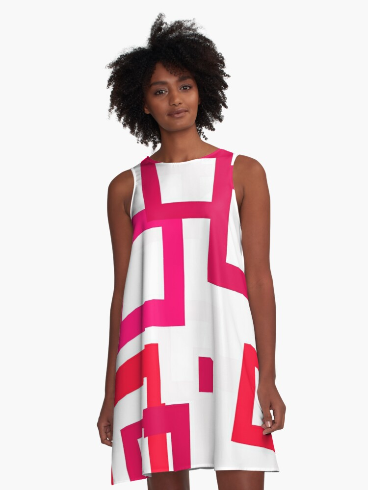 Pink Squares A-Line Dress Front