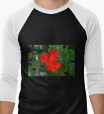 Red powerful color flower and green leaves background. Men's Baseball ¾ T-Shirt