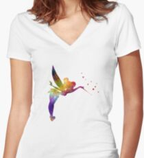 Tinkerbell in watercolor Women's Fitted V-Neck T-Shirt