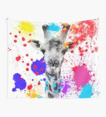 SAFARI COLORS POP - GIRAFFE White Edition Wall Tapestry