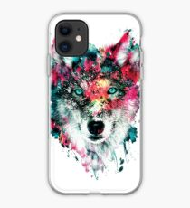 Wolves and Winter Roses iphone case