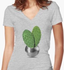 Cactus disco party Women's Fitted V-Neck T-Shirt