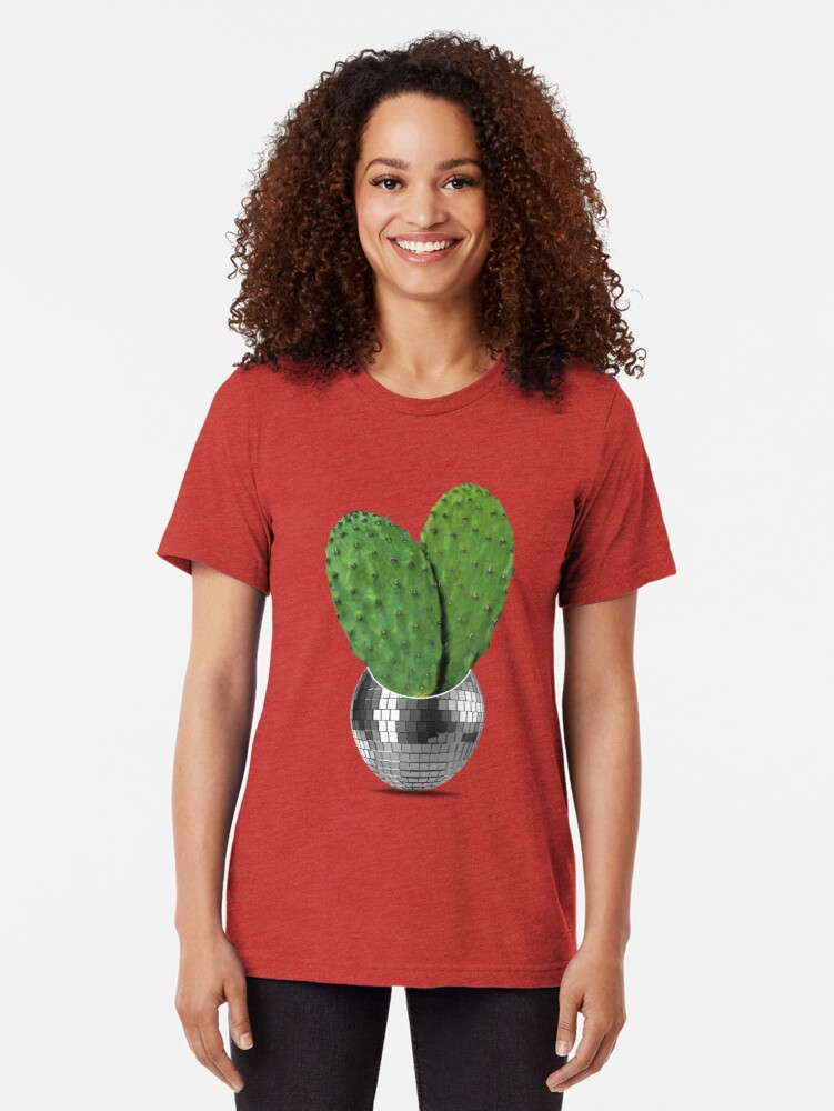 Alternate view of Cactus disco party Tri-blend T-Shirt