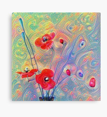 #Deepdreamed Poppies Canvas Print