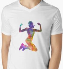 Woman runner jogger jumping powerful V-Neck T-Shirt