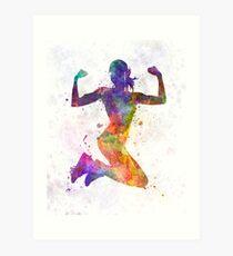 Lámina artística Mujer corredor basculador saltando de gran alcance