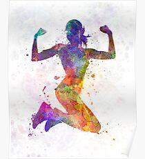 Póster Mujer corredor basculador saltando de gran alcance