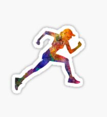 Woman runner jogger running Sticker