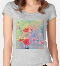 #Deepdreamed Poppies Fitted Scoop T-Shirt