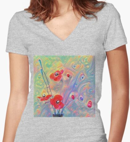 #Deepdreamed Poppies Fitted V-Neck T-Shirt