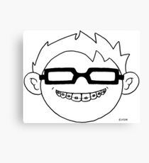 Superhero and nerd with braces and black glasses Canvas Print