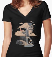 At the Foot of Fox Mountain... Women's Fitted V-Neck T-Shirt