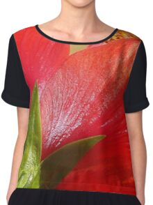 Back View of A Beautiful Bright Red Hibiscus Flower Women's Chiffon Top