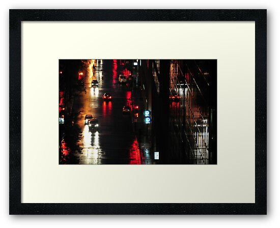 Montreal, night, rain. by Jean-Luc Rollier
