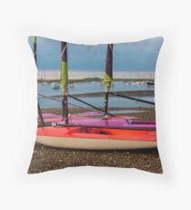 Red Sailing Dingy To Sail - British Coast And Beach  Throw Pillow