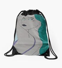 the strong beauty with the green hair Drawstring Bag