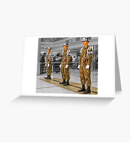Uniform Spectacle at The Station With No Trains Greeting Card