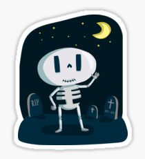 Skeleton in Graveyard Sticker