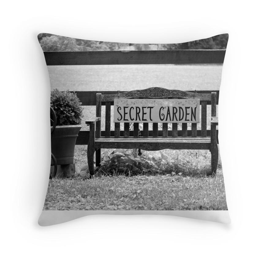 "Secret Garden: ""Secret Garden Bench"" Throw Pillows By Valeria Lee"