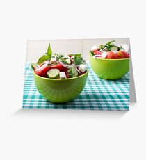 Useful vegetarian food from raw tomatoes, cucumbers and onions Greeting Card