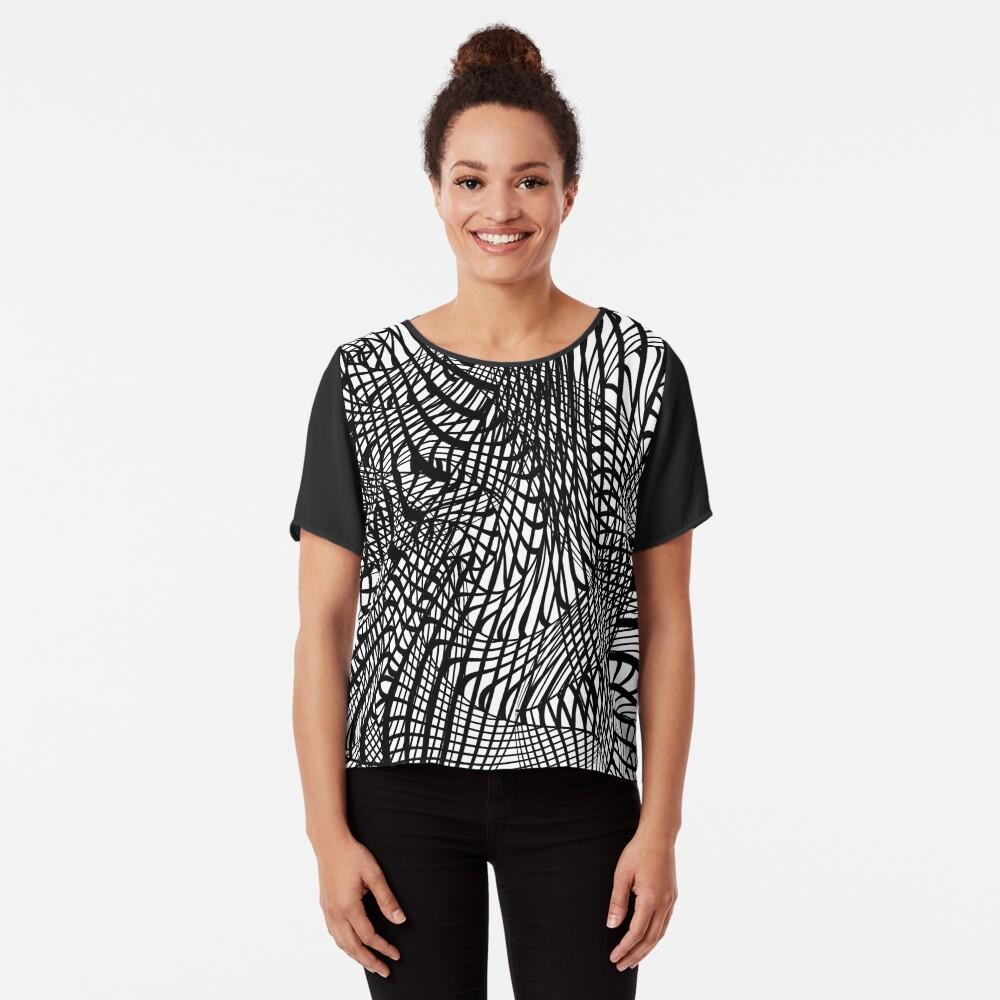 Black White Swirly Doodle Tangle d Trendy Pattern Women's Chiffon Top Front