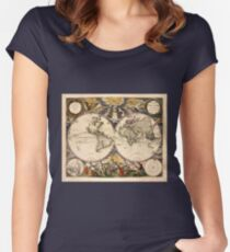 Map of the World (1672) Women's Fitted Scoop T-Shirt