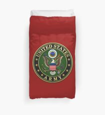 U.S. Army Emblem 3D on Red Velvet Duvet Cover