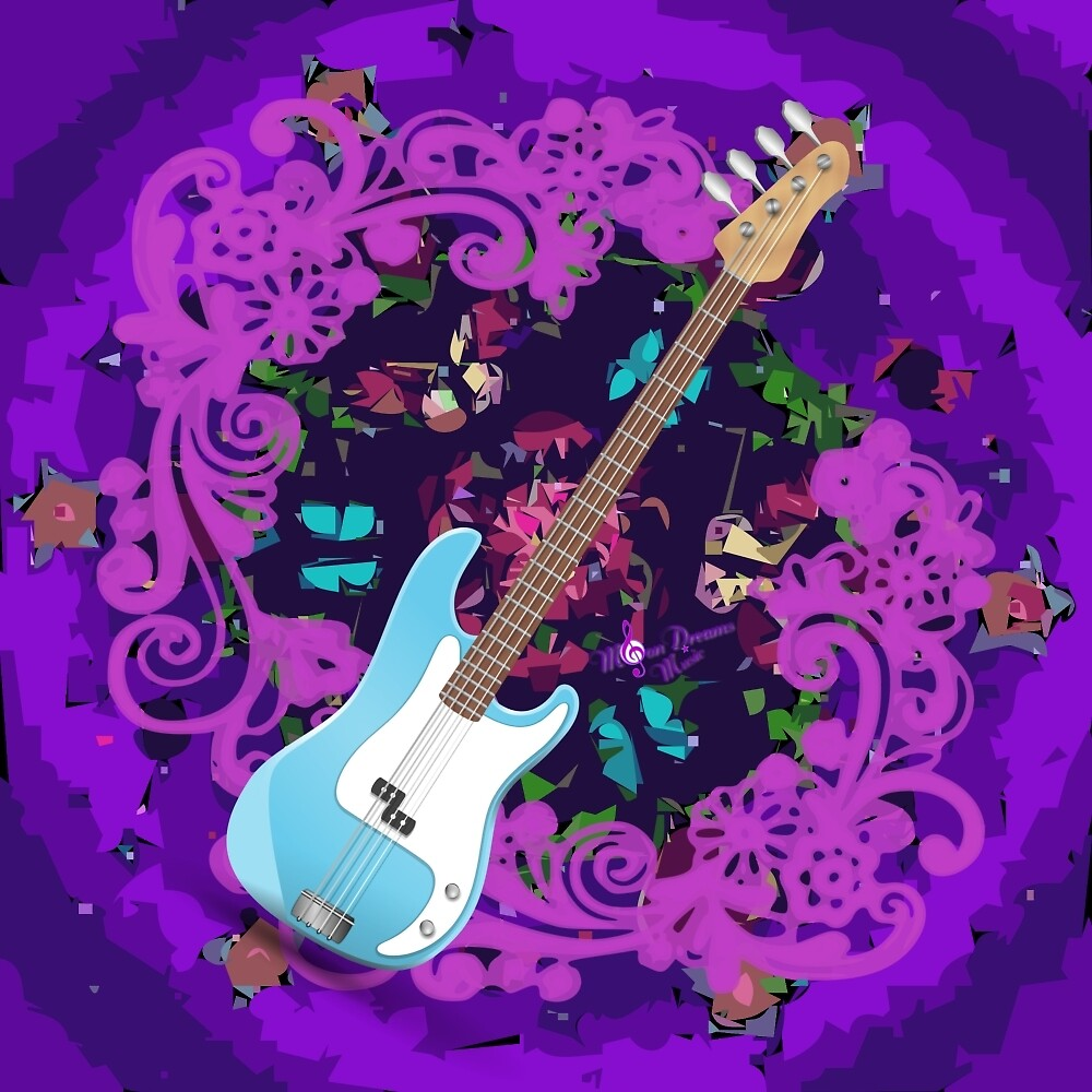 Vibrant Purple Abstract Floral Blue Bass Guitar by moondreamsmusic