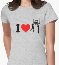 I Love Basketball Women's Fitted T-Shirt