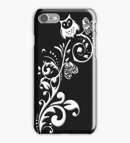 Owl on a Branch Pattern (White on Black) (4777 Views) iPhone Case/Skin