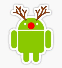 Red Nosed Android Robot Sticker