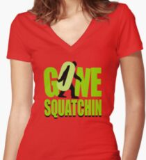 Gone Squatchin Women's Fitted V-Neck T-Shirt