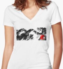 Japanese snow mountain scene Women's Fitted V-Neck T-Shirt